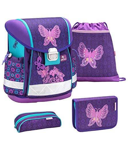 Belmil Schulranzen Set 4 - teilig ergonomischer Schulranzen Mädchen 1. klasse 2. klasse 3. klasse - Super Leicht 850-940 g/Grundschule/Schmetterling lila, Purple (403-13 Colorful)