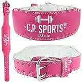 C.P. Sports Cintura Sollevamento Pesi per donna Professionale Bodybuilding Powerlifting Crossfit Allenamento per la Forza Sportivo Fitness Palestra Strongman Lady Colore Pink, Taglia S