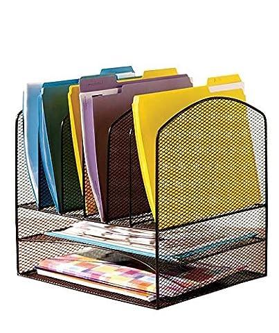 Vanra en métal mesh Bureau fichier Organiseur Trieur Desk File Plateau Organiser avec 2bacs à courrier et 6vertical Droit File Folder support sections, Noir
