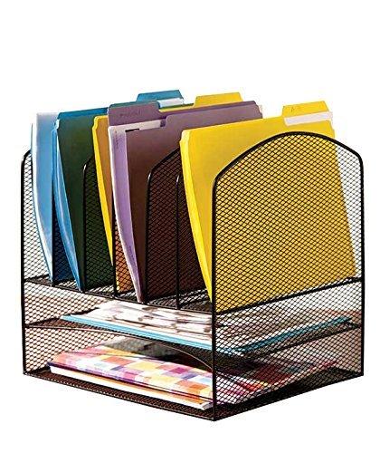 (VANRA Schreibtisch-Organizer Ablagekorb, Metall, Gitter-Design, 2Briefablagen und 6vertikale Fächer für Schnellhefter, Schwarz)