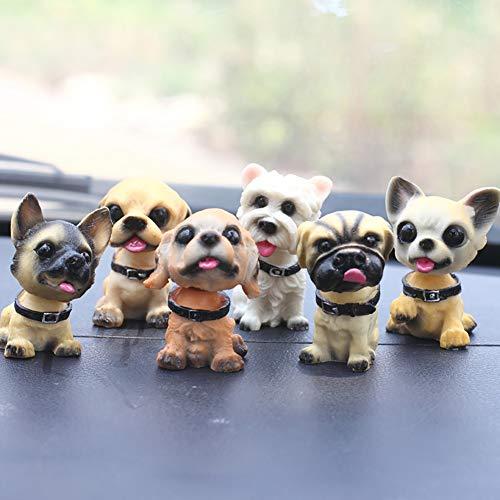 YSHtanj Auto-Ornament Autositze, Zubehör, Reparatur-Werkzeug, 6 Stück, wackeliger Kopf Hund Auto Fahrzeug Armaturenbrett Ornament Viel Glück Home Decor -