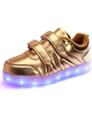 DoGeek Zapatos Deportivos Para Niños Niñas 7 Color USB Carga LED Luz Glow Luminosos Zappatillas Light Up USB Velcro Flashing Sneakers(Elegir 1 tamaño más grande)