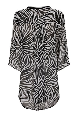 Damen Chiffon-Shirt Damen Beach Summer Cover Up Zebra Print Bluse Black/White Animal