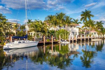 druck-shop24 Wunschmotiv: Expensive yacht and homes in Fort Lauderdale #79922610 - Bild auf Forex-Platte - 3:2-60 x 40 cm/40 x 60 cm - Fort Lauderdale Yacht