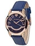 Yves Camani Damen-Armbanduhr Champaubert mit rosegoldenem Edelstahl-Gehäuse und blauem mit 23 Zirkonia-Steinen besetztem Zifferblatt. Elegante Quarz Damen-Uhr mit blauem Leder-Armband.