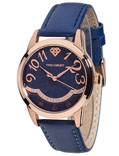 Yves Camani Champaubert Wristwatch with Rose Gold Stainless Steel Case and Blue Dial Set with 23 Zirconia Stones Elegant quartz women's watch with blue leather strap.