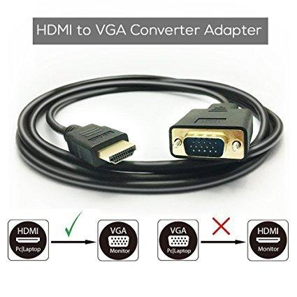 HDMI zu VGA Kabel, goodlucking 6ft/1,8M HDMI Stecker zu VGA Stecker D-Sub 15Pin M/M Stecker Kabel, HDMI auf VGA Einweg Übertragung (keine Signalwandlung Funktion) Any Dvd Video Converter