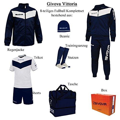 Givova Fußball Set mit Box Vittoria komplett, Unisex-Erwachsene, Box Vittoria M True Blue/Vintage White