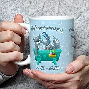 Geschenk Tasse Katze lustig mit Spruch Sternzeichen Wassermann Katzenmotiv Geburtstagstasse Geburtstagsgeschenk für Katzenliebhaber Frauen Freundin