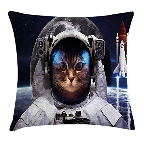 Space Cat Throw Pillow Cushion Cover, Cat in Cosmonaut Outer Space Clothes in Cosmos Travel with Rocket, Decorative Square Accent Pillow Case, 18 X 18 Inches, Navy Blue White and Red Navy Clara Slip