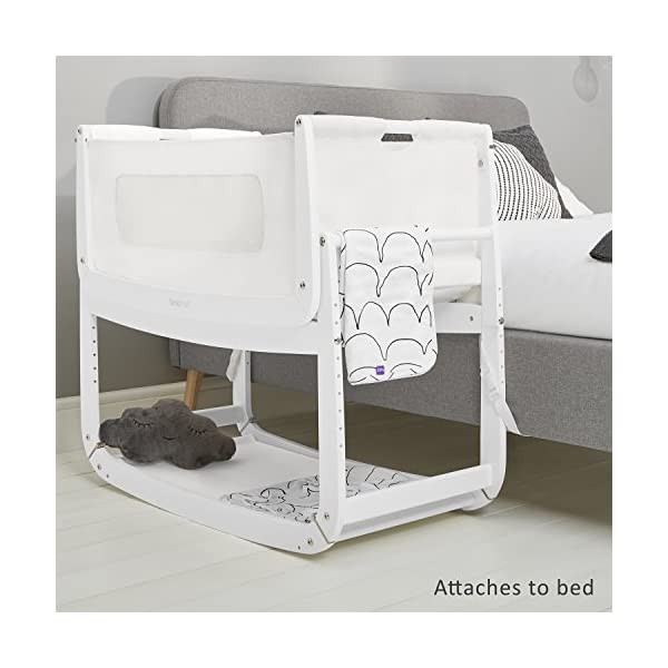 SnuzPod 3 Bedside Crib - White Snuz SnuzPod 3 has added functionality, a lighter bassinet and a more breathable sleeping environment. More than just a bedside crib; use as a bedside crib, stand alone crib or moses basket/bassinet. Simply attach the crib to your bed using straps provided (fits frame and divan beds) and your ready use as a bedside crib. The 9 different height settings allow you to ensure the crib is the right height for your bed (31-63cm) New! SnuzPod 3 now comes with an optional reflux function, by tilting the crib and setting an incline to reduce reflux symptoms little one can get a better nights sleep. 6