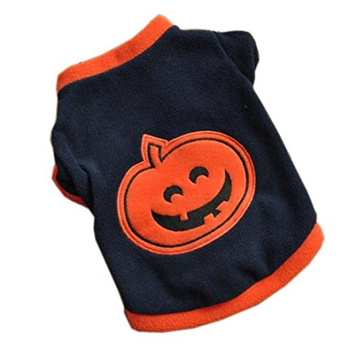 Ninasill Pet Apparel, ღ ღ Hund Puppy T-Shirts Fleece Warm Kleidung Halloween-Kürbis Casual Medium Navy
