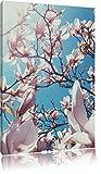 Zarte Rosa Magnolie Blüten , Format: 60x80 auf hochkantiges Leinwand, XXL riesige Bilder fertig gerahmt mit Keilrahmen, Kunstdruck auf Wandbild mit Rahmen, günstiger als Gemälde oder Ölbild, kein Poster oder Plakat