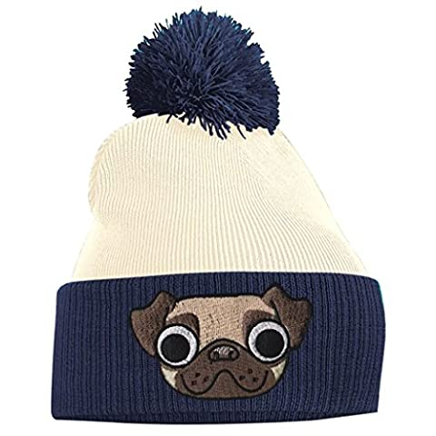 Pom Pom Beanie - Pug Puppy Dog - French Navy and Off White