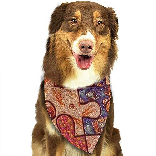 YAGEAD Hund Bandana Welpe und Haustier Bandanas, Bunte Autismus-Bewusstseins-Puzzleteil-Haustier-Schal