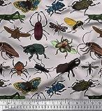 Soimoi Grau Baumwoll-Popeline Stoff Käfer, Schmetterling &