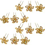 Rapidsflow Bridal Hair Accessories Juda Pins For Bun Decoration For Women And Girls (Gold)