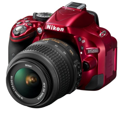 Nikon D5200 SLR-Digitalkamera (24,1 Megapixel, 7,6 cm (3 Zoll) TFT-Display, Full HD, HDMI) Kit inkl. AF-S DX 18-55 mm VR Objektiv rot - 2