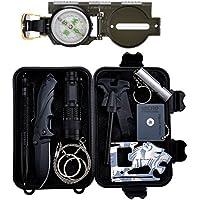 Kit di sopravvivenza di emergenza 11 in 1, kit di attrezzi per la sopravvivenza professionale di Tianer Kit per attrezzi da sopravvivenza all'aperto per viaggiare Escursionismo Mountain bike Arrampicata Caccia