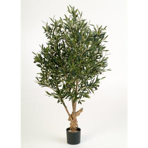 artplants Deko Olivenbaum mit 2288 Blättern, 120 cm – künstlicher Baum/Olivenbaum künstlich