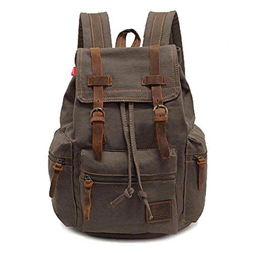 XY Fancy Damen Herren Mode Segeltuch Rucksack Schulranzen Daypacks, Armee-Grün (Armee Überschuss Rucksäcke)