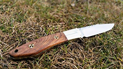 Preisvergleich Produktbild SMG Sparrow Mini-Taschenmesser / festehendes Jagdmesser mit Premium-Rosenholzgriff / 440C Stahl Vollerl Gürtelmesser mit Drop-Point Klinge / inkl. Lederscheide und Geschenkbox
