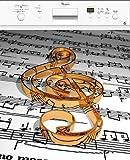 Stickersnews - Sticker lave vaisselle déco cuisine note de musique 60x60cm Réf 157