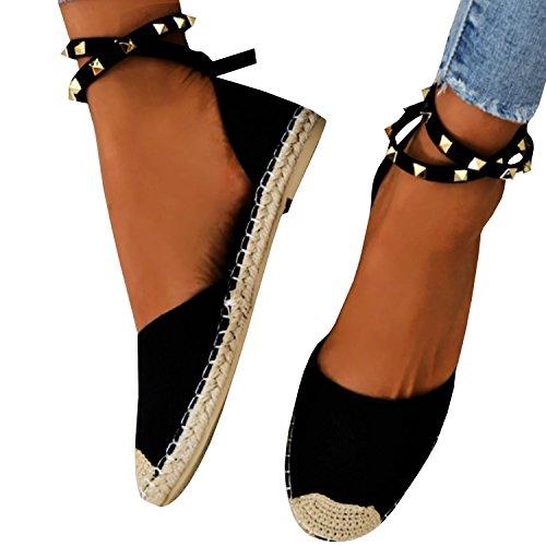 Minetom sandali donna estivo eleganti piatto donna espadrillas caviglia con spalline sandali bassi bocca di pesce sandali a nero eu 43