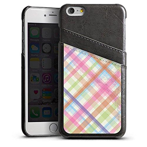 Apple iPhone 5s Housse Étui Protection Coque Pastel carreau couleurs Motif Étui en cuir gris