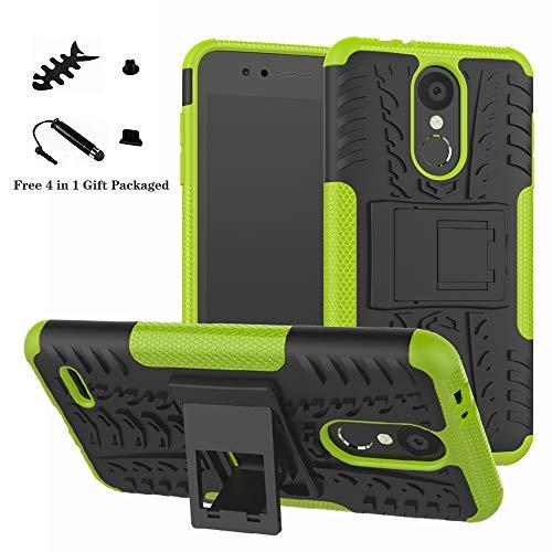 LiuShan LG K8 / K9 2018 Hülle, Dual Layer Hybrid Handyhülle Drop Resistance Handys Schutz Hülle mit Ständer für LG K8 2018 / K9 2018 Smartphone (mit 4in1 Geschenk verpackt),Grüne