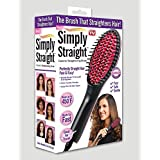 Maxelnova Simply Straight Ceramic Hair Straightening Brush, Black/Pink