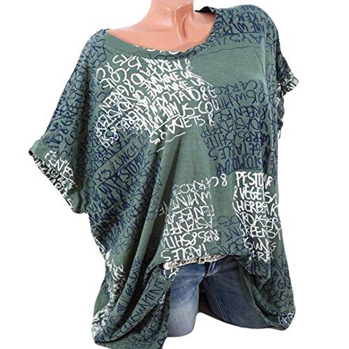 , (S-5XL) Lose Tops Damen Mode Kurze Fledermaus Ärmel Bluse Casual Brief Print Pocket Sommer T-Shirts (XL, Grün) (Fledermaus Kleid Bis Kostüm)
