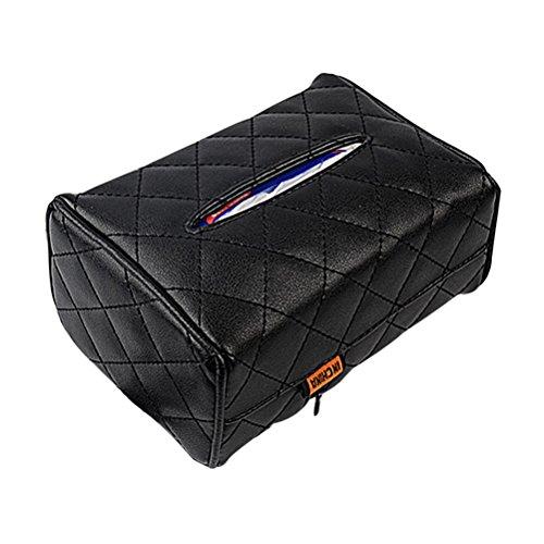 WINOMO Auto Tissuebox Halter Kosmetiktücherbox Weiche PU Leder für Auto Sonnenblende und Autositz (Schwarz)