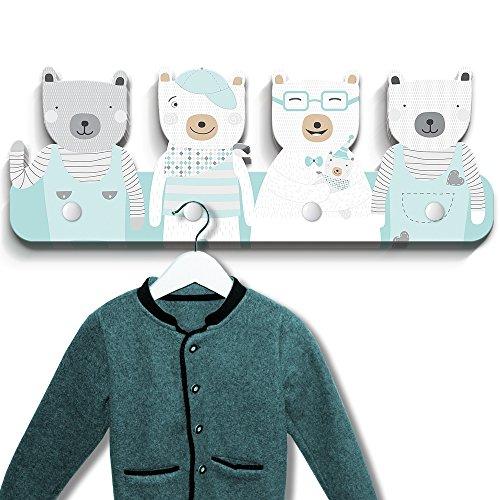 Luvel - Kindergarderobe mit 4 Haken Maße ca.: 40 x 15 x 1 cm (Mehrfarbig) (Bären mintgrün)