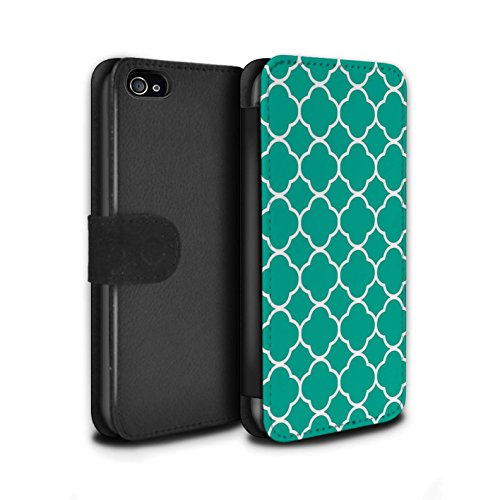 STUFF4 PU-Leder Hülle/Case/Tasche/Cover für Apple iPhone 4/4S / Quatrefoil/Klee Muster / Teal Mode Kollektion (Iphone 4 Fälle, Teal)