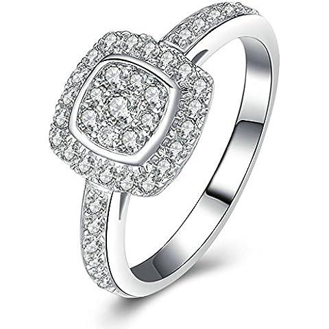 (Personalizzati Anelli)Adisaer Anelli Donna Argento 925 Anello Fidanzamento Incisione Gratuita Cushion Cut Anello Diamante