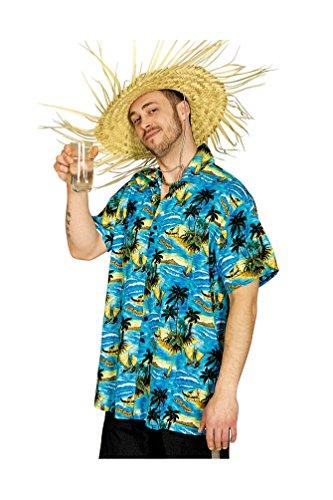 Karneval-Klamotten Hawaii Kostüm Herren Hawaii-Hemd blau Palmen Strand Karneval Herrenkostüm Größe 50/52