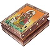 Jewellery Box / Trinket Box / Storage Box Out Of Natural Gem Stones And Shisham Wood Radha Krishna Design By Handicrafts Paradise