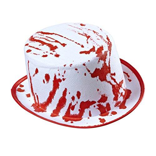 Amakando Zombie Zylinderhut Blutiger Halloween Zylinder Hut Totengräber Bowler Herrenhut Horror Halloweenhut Kostüm Accessoire Killer Mörder Psycho - Zombie Totengräber Kostüm