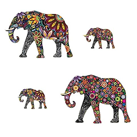 TOOGOO(R) 4pcs Abstract Elephant Room Wall Sticker PVC Decal Art Transfer Home Decor,color,Size: (large) 35cmx25cm (small) 15x10cm