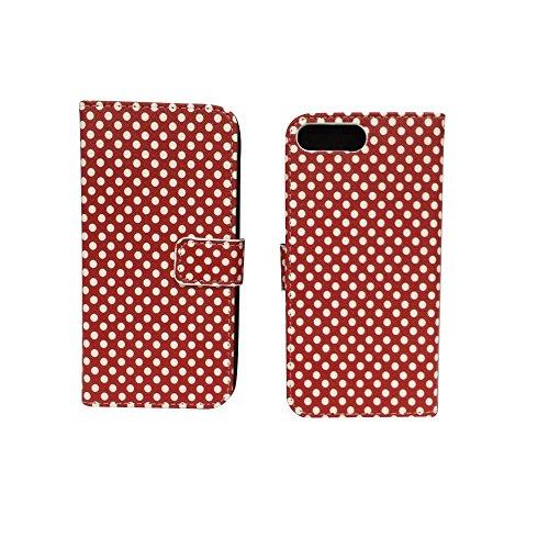 König-Shop - Handyhülle Schutz Tasche Case Cover Wallet Kunstleder 360 Grad Standfunktion, Farbe:Marshmallows, Größe:Apple iPhone 7 Plus Polka Dot Rot