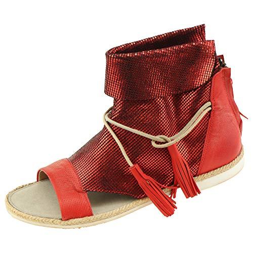 Damenschuhe Coque Terra Damensandalen Kid Red 18930304 + Schuhputz Handschuh (40 EU)
