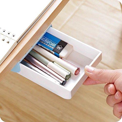 Chris. W 1Pack selbstklebend Bleistift Tablett-Unter Schreibtisch Halterung Slide Out Storage Schublade Organizer 22.5x8.7x3.5cm blau - Schublade Organizer Rubbermaid