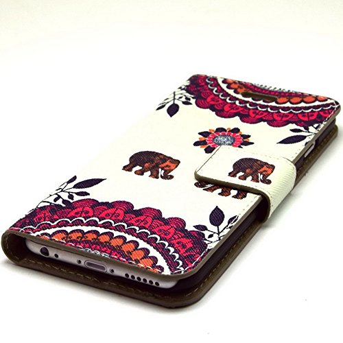 Più colorate Ancerson in pelle PU Flip Custodia Cover per Apple iPhone 6 4,7 inch in pittura ad olio Stil Colorful Painting Flip Case Custodia in similpelle custodia per cellulare con supporto scompar Elefant Liebespaar