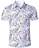 Goodstoworld Herrenhemd Flamingo Kurzarm Comfort Fit Outdoor Hemd Herren Modern Hawaiihemd Männer Retro Gemusterte Shirt