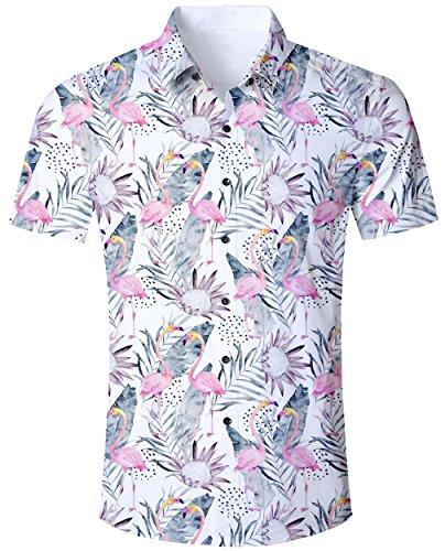 5fc1fda2 Goodstoworld Camiseta Colorida para Hombres Camisas Vacaciones Ocasionales  3D Funky Animales Flamencos Florales Impresión Camiseta Ajuste Regular  Verano XXL