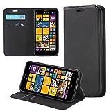 ECENCE Nokia Lumia 630/630 Dual SIM / 635 Handy-Tasche Flip Cover Book Case Schutz-Hülle Etui Wallet Schale Schwarz 22020202