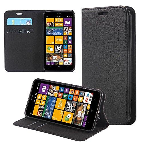 ECENCE Handyhülle Schutzhülle Case Cover kompatibel für Nokia Lumia 630/630 Dual SIM / 635 Handytasche Schwarz 22020202