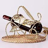 GXYGWJ Kreatives Weinregal Dekoration europäischer Weinschrank Dekoration Weinregal Wohnzimmer Schmiedeeisen Flaschenregal Rotweinregal goldfarben
