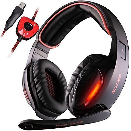Gaming Headsets, SADES SA902 Kopfhörer Gaming Dolby 7.1-Surround-Sound für PC Mit Mikrofon Over ear Lautstärkeregelung USB LED [ PC, Laptop, Tablet ] Schwarz /Rot